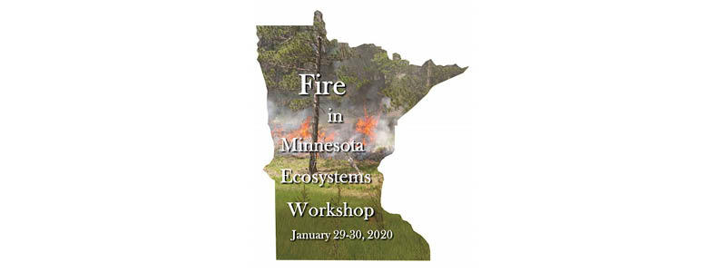 Fire in MN Ecosystems cover. Image of state of Minnesota with event date
