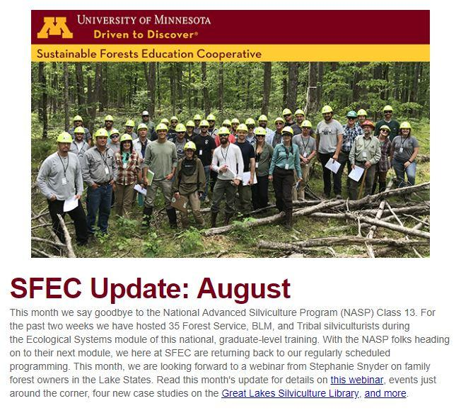 SFEC August 2019 update cover, NASP13 group photo