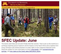 SFEC June update cover. Fred Baker in black spruce stand at recent workshop.