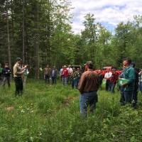 DNR forester Jason Bushmaker introduces the first field site at the Tettegouche workshop.
