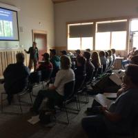 DNR Wildlife Area Manager Nancy Hansen discusses habitat needs for northern goshawk, cavity nesters, and furbearers
