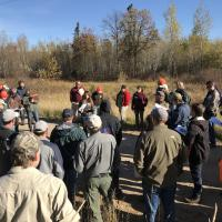 Alexis Grinde presents at the Feeley Road timber harvest site