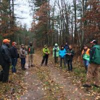 Discussing silvicultural treatments in the woods